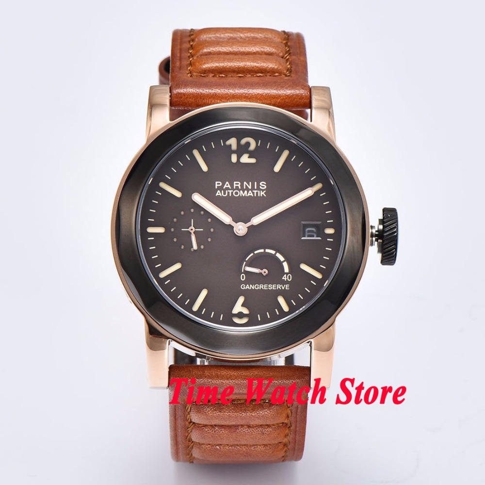 Parnis 44mm coffee dial golden/PVD case Sapphire Glass ST2530 Automatic movement Men's watch 692 все цены