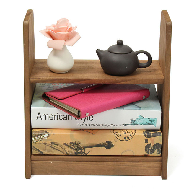 2016 Solid Wood Small Shelf Student Dormitory Desktop Shelf Small Office  Bookshelf Home Bedroom Furniture