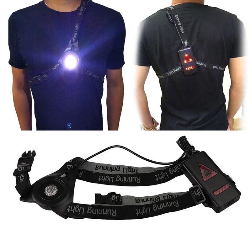 USB À L'intérieur Bttary 9 Led Lumières Sécurité Nuit Running Light Sport En Plein Air et Camping Étanche Rechargeable Lampe De La Poitrine