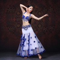 2018 Top Grade Stage Dance Wear Belly Dancing Clothes Oriental Dance Outfits Flowers Belly Dance Costume Bra Belt Skirt
