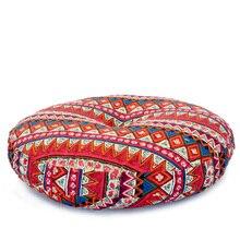Linen Round Floor Cushions Meditation Cushion Large Flat Pads Japanese Futon Removable and Washable