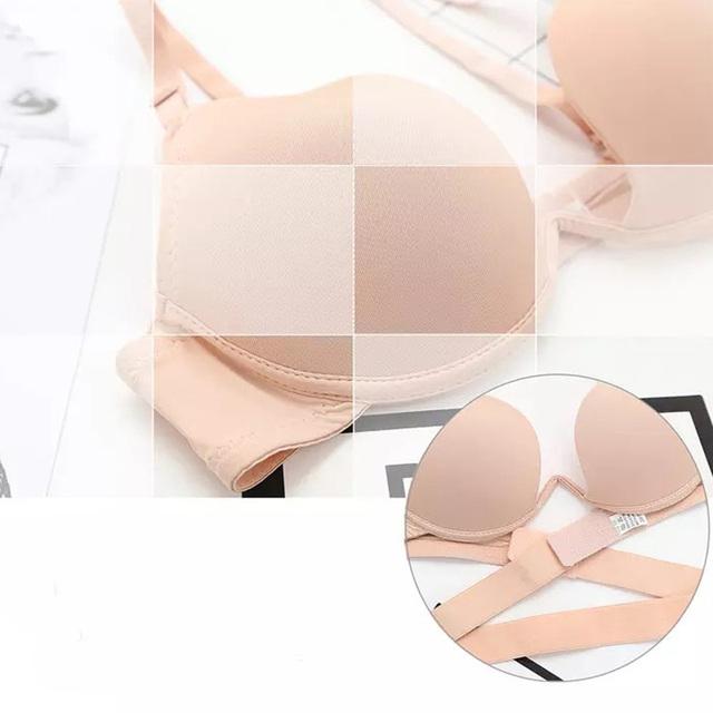Women Sexy Deep U Cup Brassiere Plunge Push Up Bra Clear Back Bralette Intimates Sexy Lingerie Underwire Bras Ladies Underwear