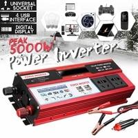 Solar Inverter 12V 220V 5000W Pe ak Power Voltage Converter Transformer DC 12V/24V AC 110V Modified Sine Wave LCD Inversor