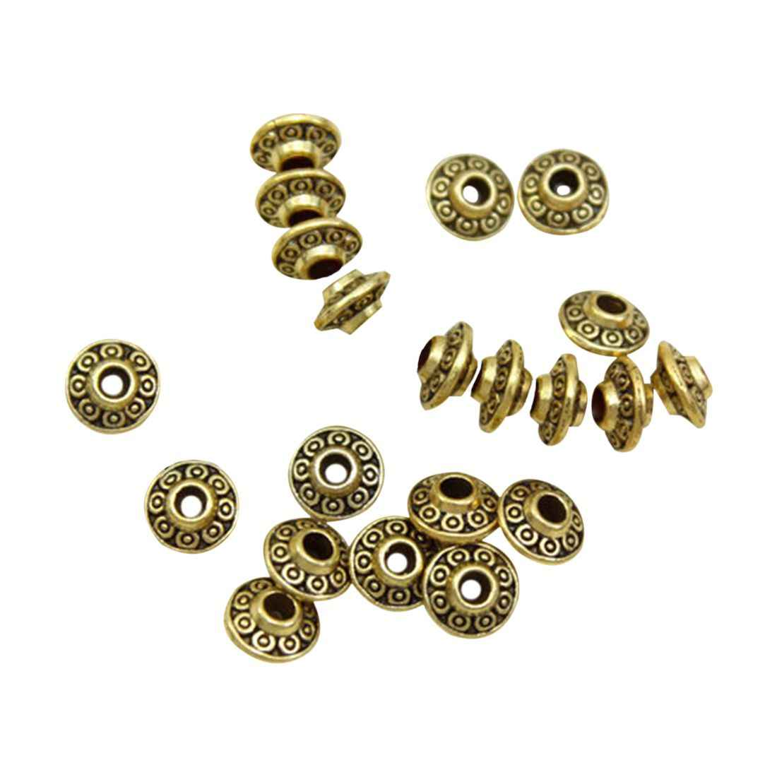 100 x Ton Muster Spacer Perlen 6x4mm Gold