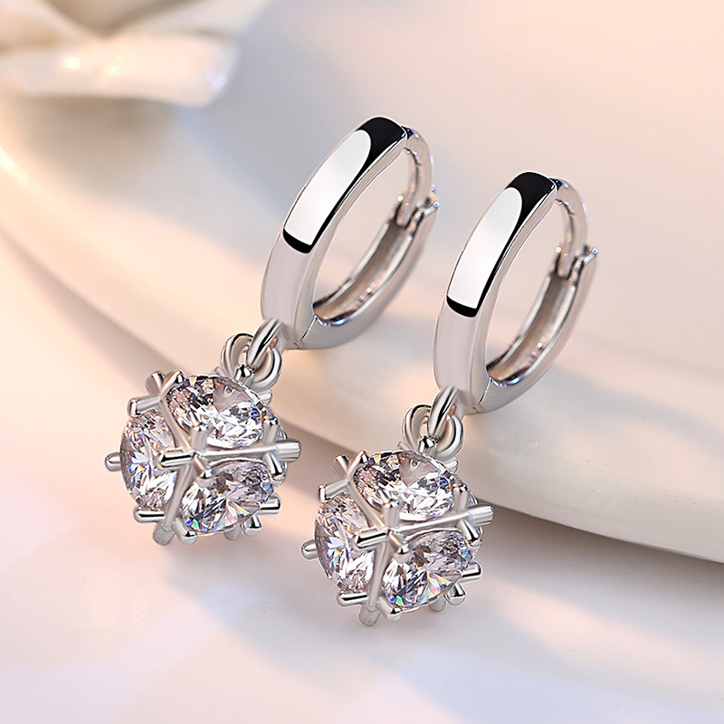 100 925 Sterling Silver Fashion Shiny Crystal Square Stud Earrings for Women Valentine 39 s Day Gift Wholesale Jewelry Cheap in Stud Earrings from Jewelry amp Accessories