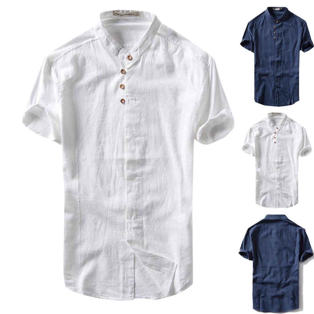 2019 Summer Men's Causal Shirt Short Sleeve Top Button Linen Solid Color Loose Blouse S-2XL Hawaiian Shirt Camisa Masculina