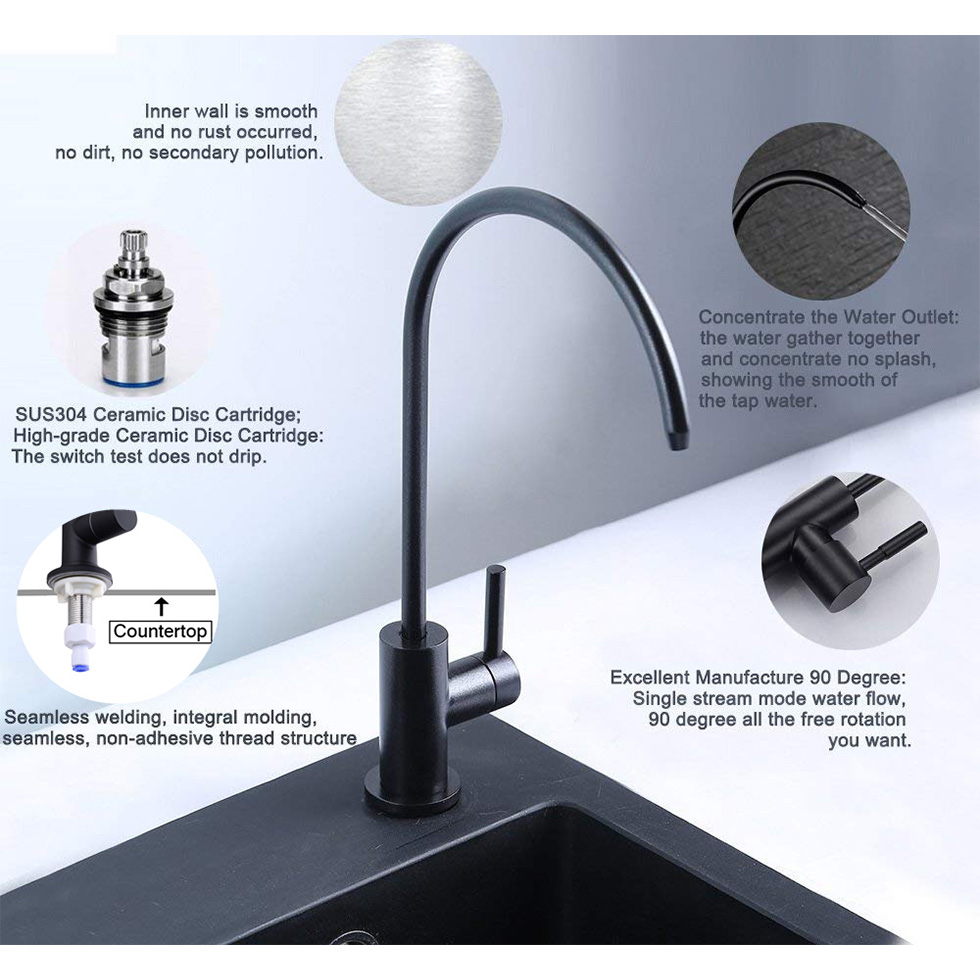 Drinking Water Filter Tap SUS304 Stainless Steel Faucet for RO Reverse Osmosis Filter with Matte Black Finish