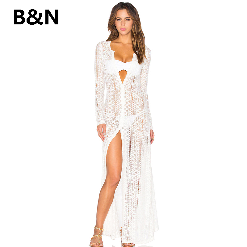B amp N Tunic Suit Maxi Summer Dress Sexy Hollow Out Swimwear Beach Dresses Summer Dress Women Boho Long Party Beach Dress in Dresses from Women 39 s Clothing