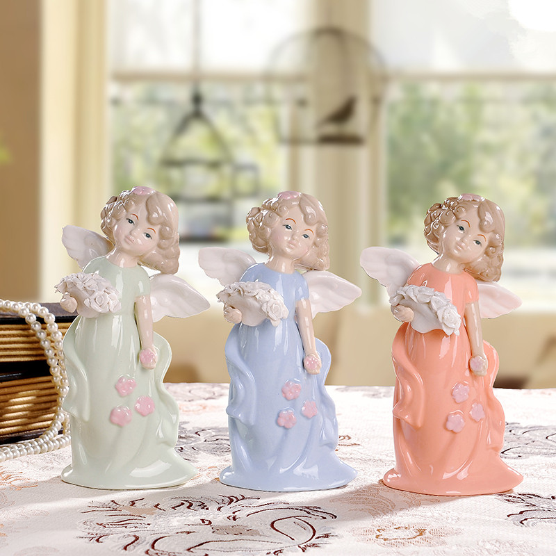 Ceramic angel figurine decorations ornaments creative for Angels decorations home