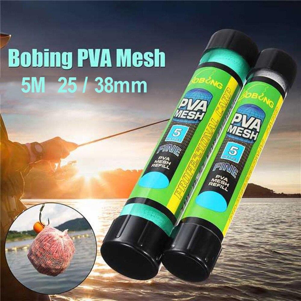 5M PVA Soluble Narrow Fishing Net Network Refill Stocking Bait Bag PVA Water Dissolving Multifilament Mesh Fishing Feeder