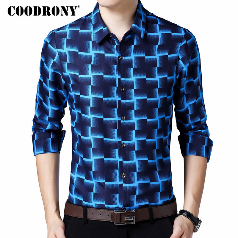 COODRONY Long Sleeve Shirt Men Business Casual Shirts Men Clothes 2019 Autumn New Arrivals Plaid Camisa Masculina Plus Size 8738