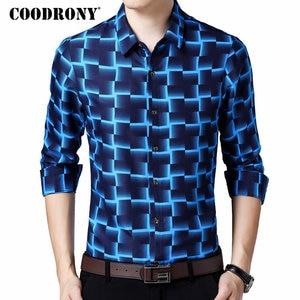 Image 1 - COODRONY Long Sleeve Shirt Men Business Casual Shirts Men Clothes 2019 Autumn New Arrivals Plaid Camisa Masculina Plus Size 8738