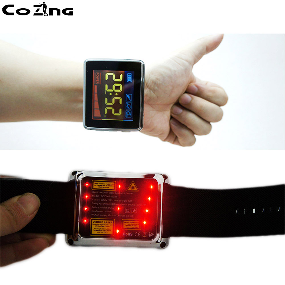 Cold laser therapy watch therapeutic apparatus with laser therapy high blood sugar cardio vascular wrist soft laser therapy device with 18 lasers points for high blood pressure high blood sugar body pain relief
