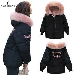 PinkyIsblack Winter Jacket Women 2019 New Fashion Slim Female Winter Coat Thicken Parka Down Cotton Clothing Fake fox fur collar 1