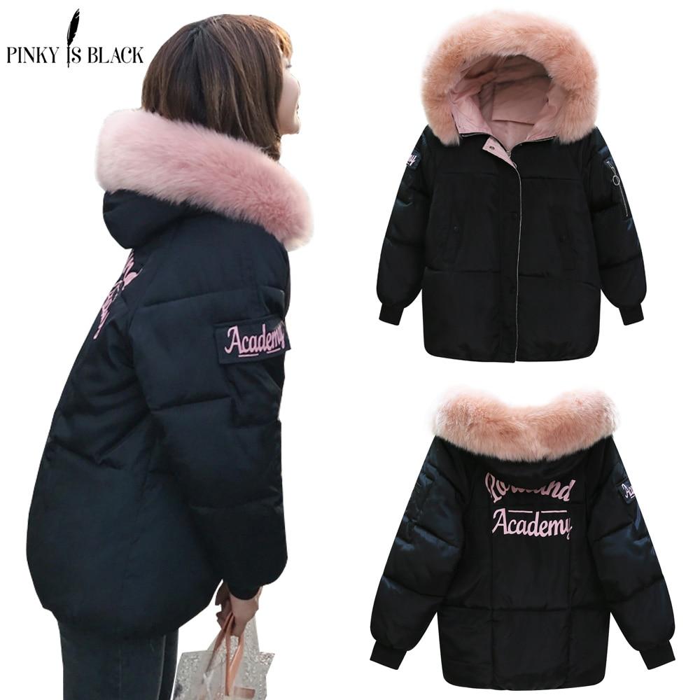 Pinkyisblack inverno jaqueta feminina 2019 nova moda feminina magro casaco de inverno engrossar parka para baixo roupas de algodão falso gola de pele de raposa