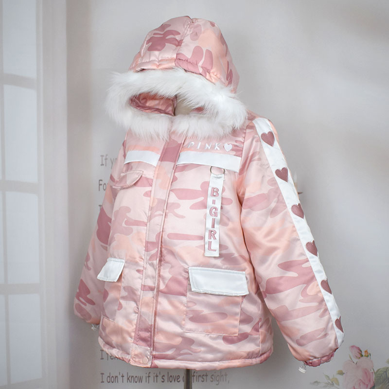 Mori girl isashion jacket Harajuku sweet camouflage large fur collar coat Winter New thickening heart embroidery   parkas