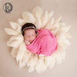 Don & Judy New Arrival! 100% rzemieślnicze czysta wełna Fox-Brush Style noworodka fotografia koc średnica 65cm prezent na baby shower