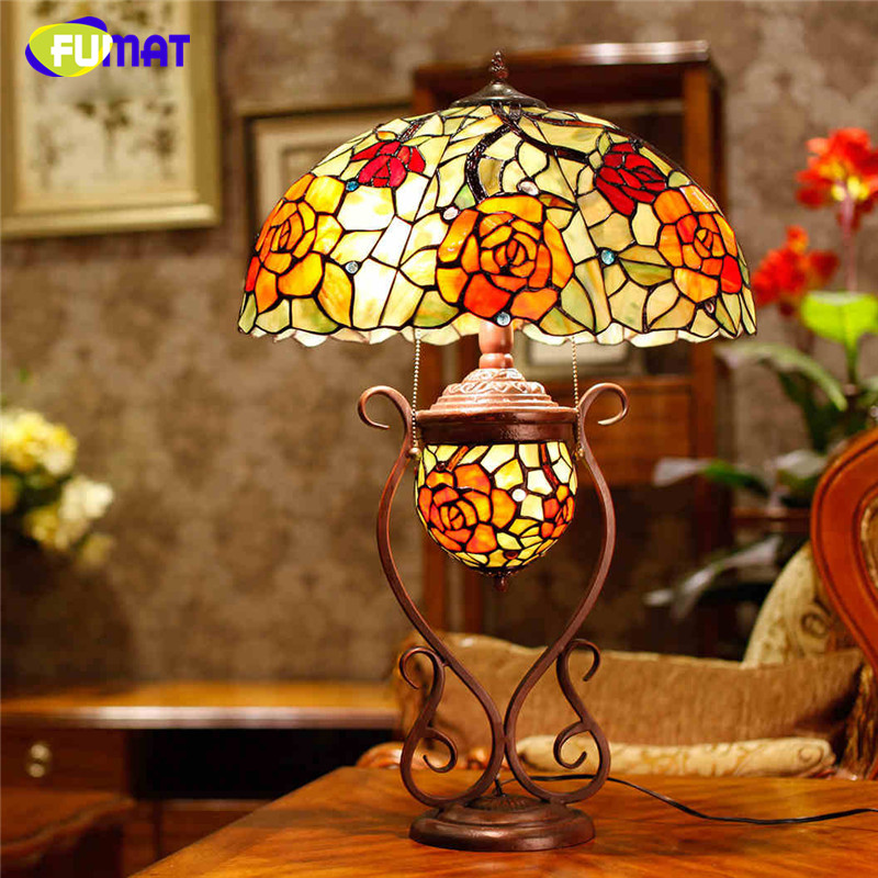 Fumat Stained Glass Table Lamp Art Glass Rose Oval Shade Table Lamp Living Room European Creative