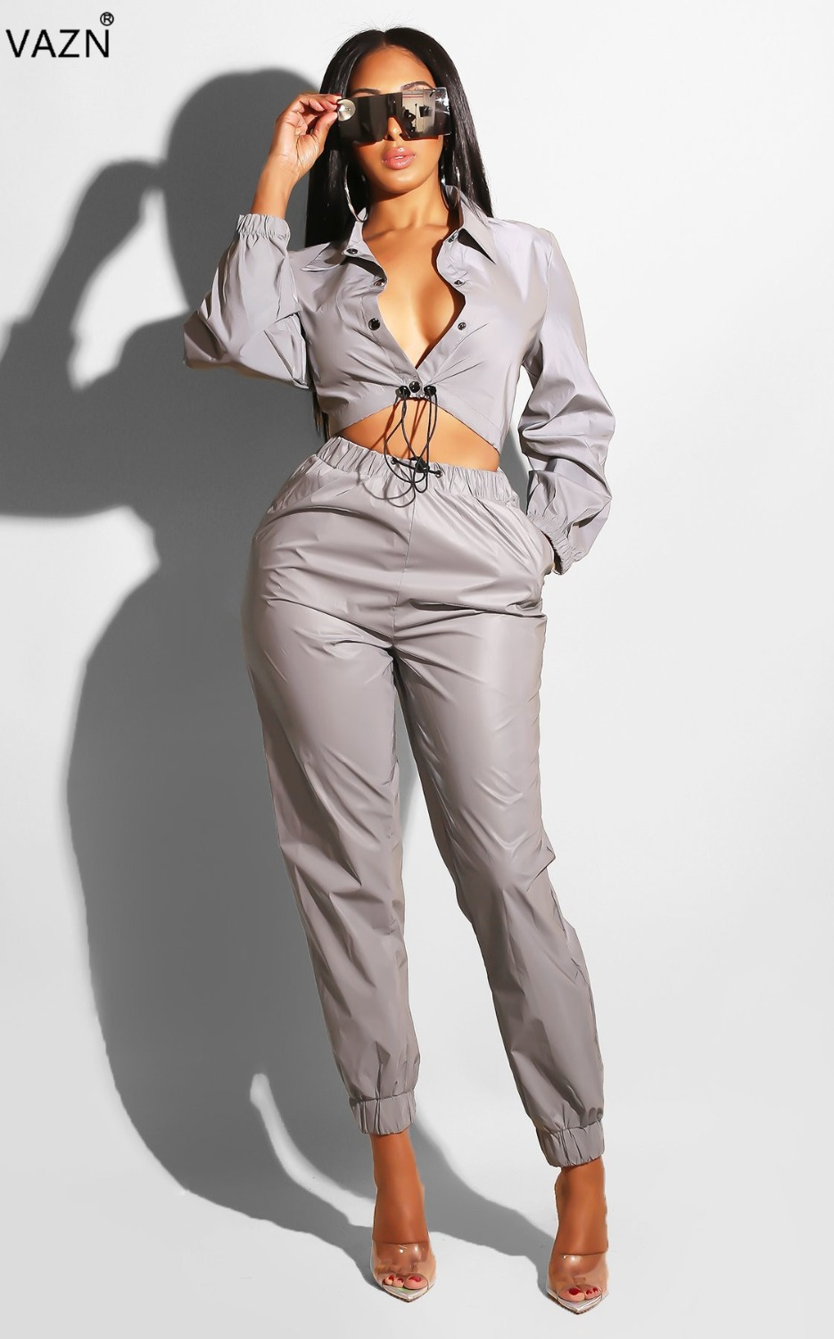 593f82e5f41 VAZN 2018 autumn hot sexy solid 2-pieces jumpsuits ladies button v-neck full