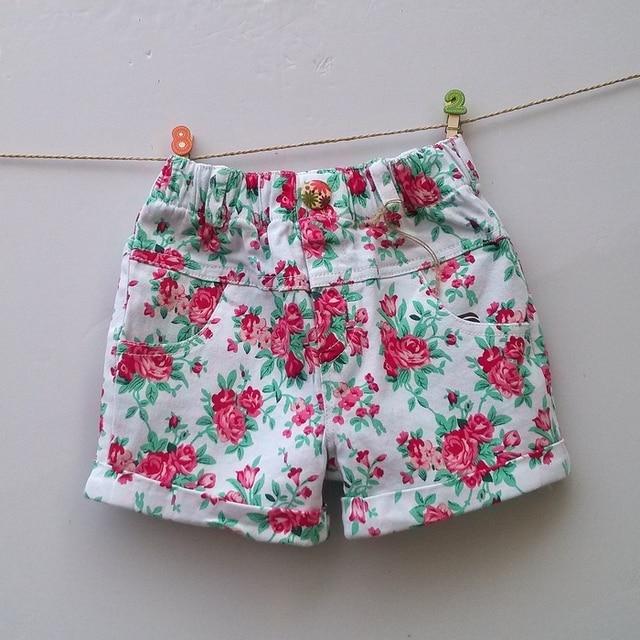 33e63e5a3b781 (3-9Y) children denim shorts girls zcao floral Elastic Twill shorts print  peony