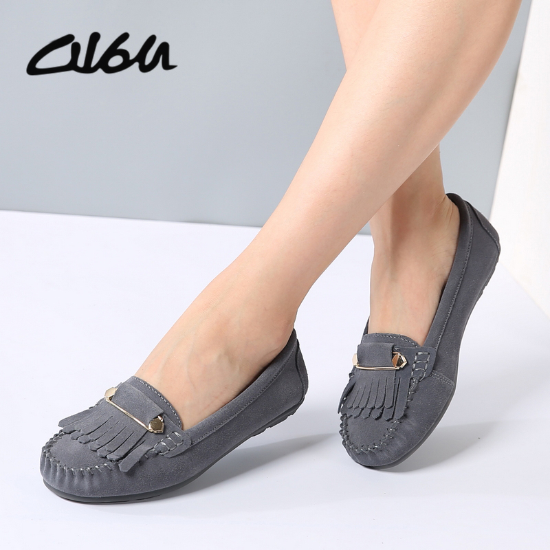 O16U Women ballet flats Shoes   suede     leather   slip-on Tassel safety pins Buckle Ladies moccasins ballerina non-slip Gray purple