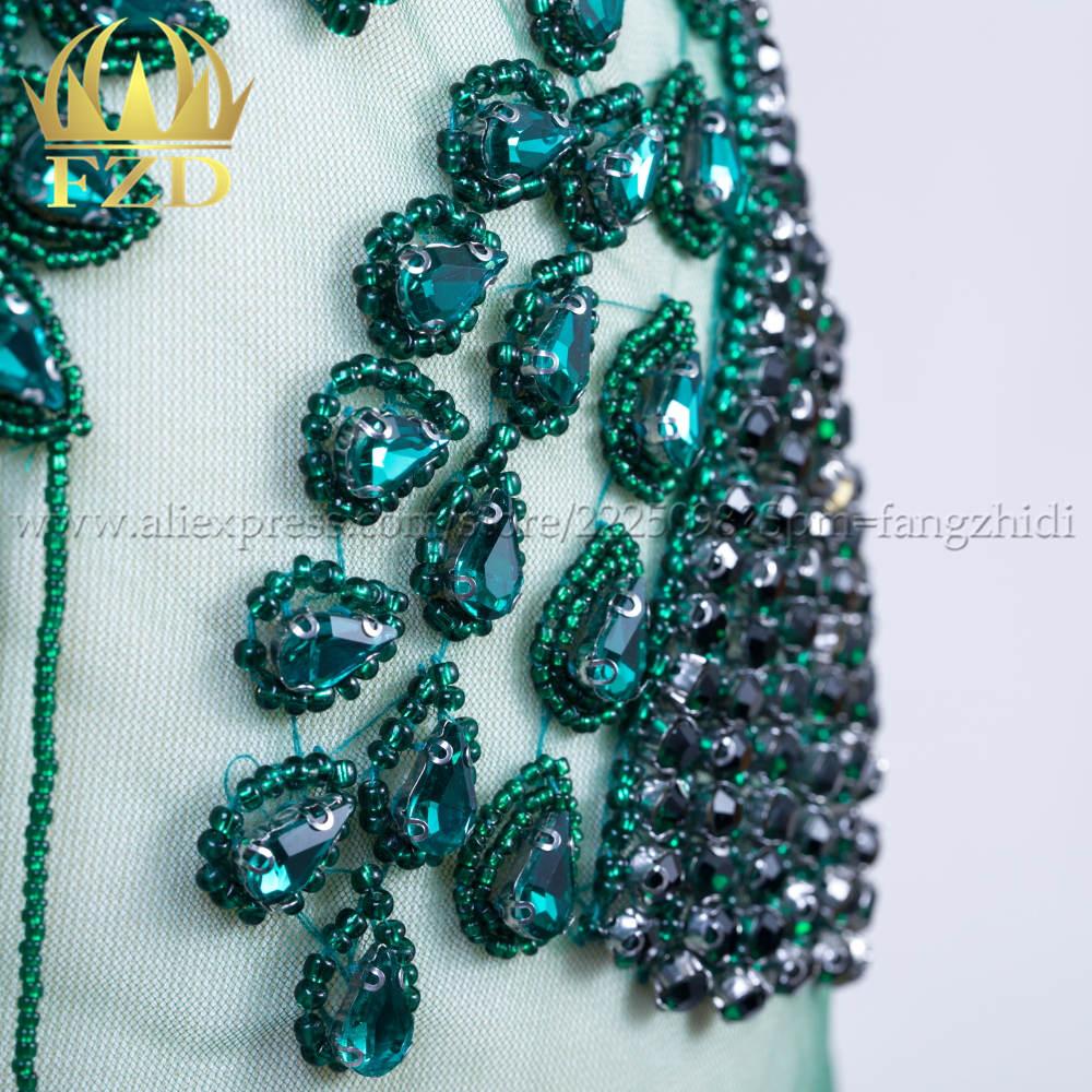 FZD Elegant Handmade Sew On Rhinestone Patch Tassels Waterfall Dangling Crystal Dress Patch Bodice Applique for Show