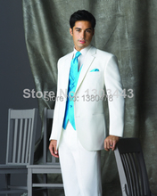 New 2016 New Arrival Two buttons Notch Lapel White Groom Tuxedos Groomsmen Men's Wedding Suits Best man Suits Jacket+Pants+Vest