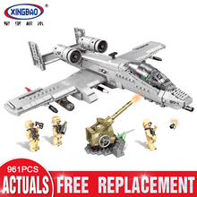 XINGBAO 06022 War Military Series The A10 Fighter Set Building Blocks Bricks Plane Model Toys Christmas Gifts With Figures lepin 05055 star war series the rogue one usc vader tie advanced fighter set 10175 building blocks bricks educational toys