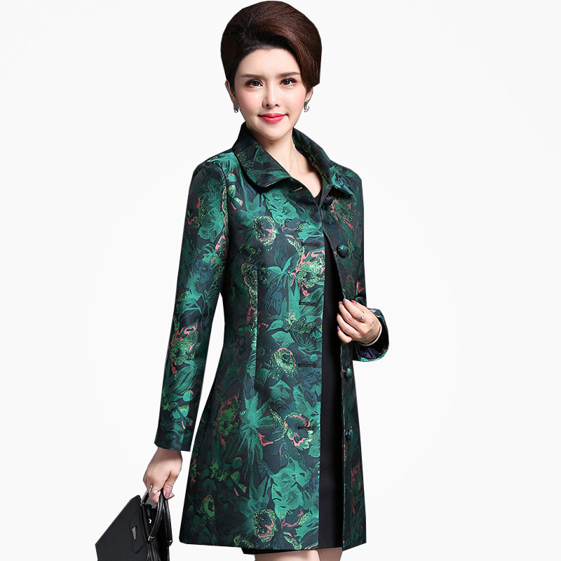 High quality Autumn Vintage Dobby print Luxury Windbreaker Middle-aged Women's Double-breasted Long   Trench   Coat Female NW947
