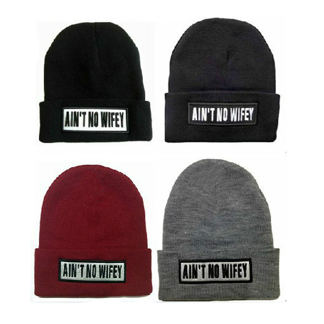 71ca05d9a94 Autumn Winter Warm Woman Man AIN T NO WIFEY Letter Beanies