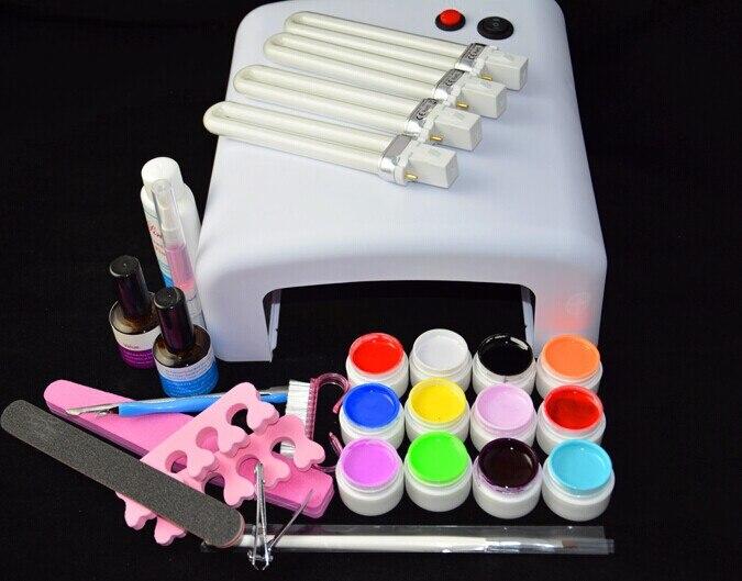 ФОТО NAIL ART BASE TOOL 36W UV Lamp & 12 Color UV Gel nail gel tools nail polish kit Tools free shipping