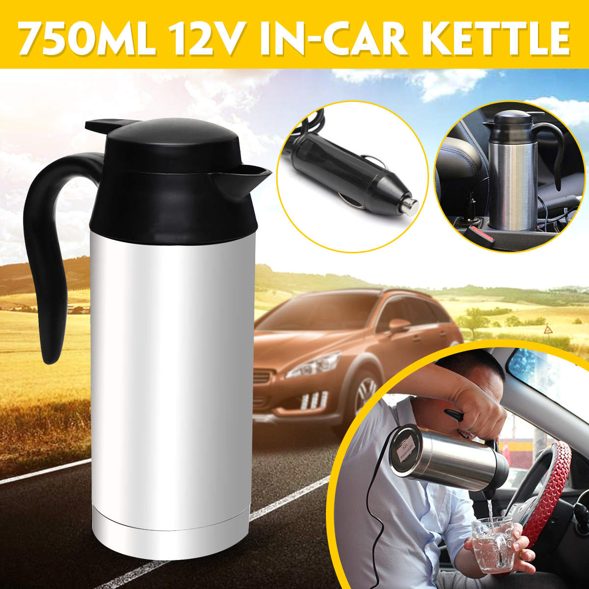 купить 12V Electric Kettle 750ml Stainless Steel In-Car Travel Trip Coffee Tea Heated Mug Motor Hot Water For Car Or Truck Use