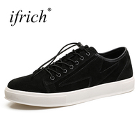 Ifrich 2017 Hot Sell Leather Wedding Shoes Men Summer Autumn Mens Sneakers Casual Black Khaki Comfortable