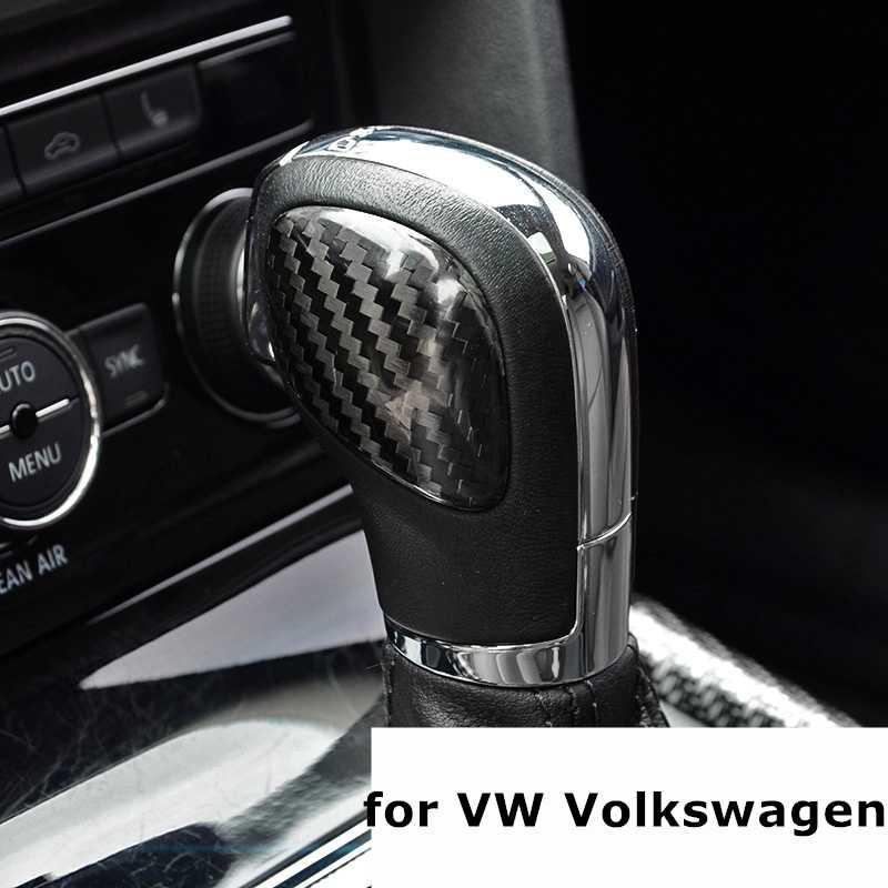 Autocollants de couverture de panneau de bouton de changement de vitesse de voiture en Fiber de carbone réelle pour VW Volkswagen Jetta Polo Golf MK4 MK5 MK6 MK7 Passat B5 B6 B7 B8