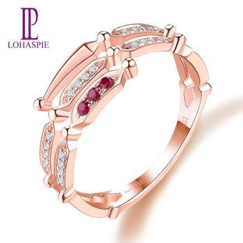 LP personalizado diamante joya de Gema Natural rubí 14K 18K oro rosa boda Bang anillo de compromiso persona regalo