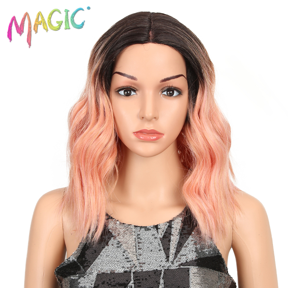 """MAGIC Hair 14""""Inch Ombre Pink Wavy Wigs lace front Hair Synthetic Lace Wigs for Black Women Wave Wig High Temperature Fiber Hair"""