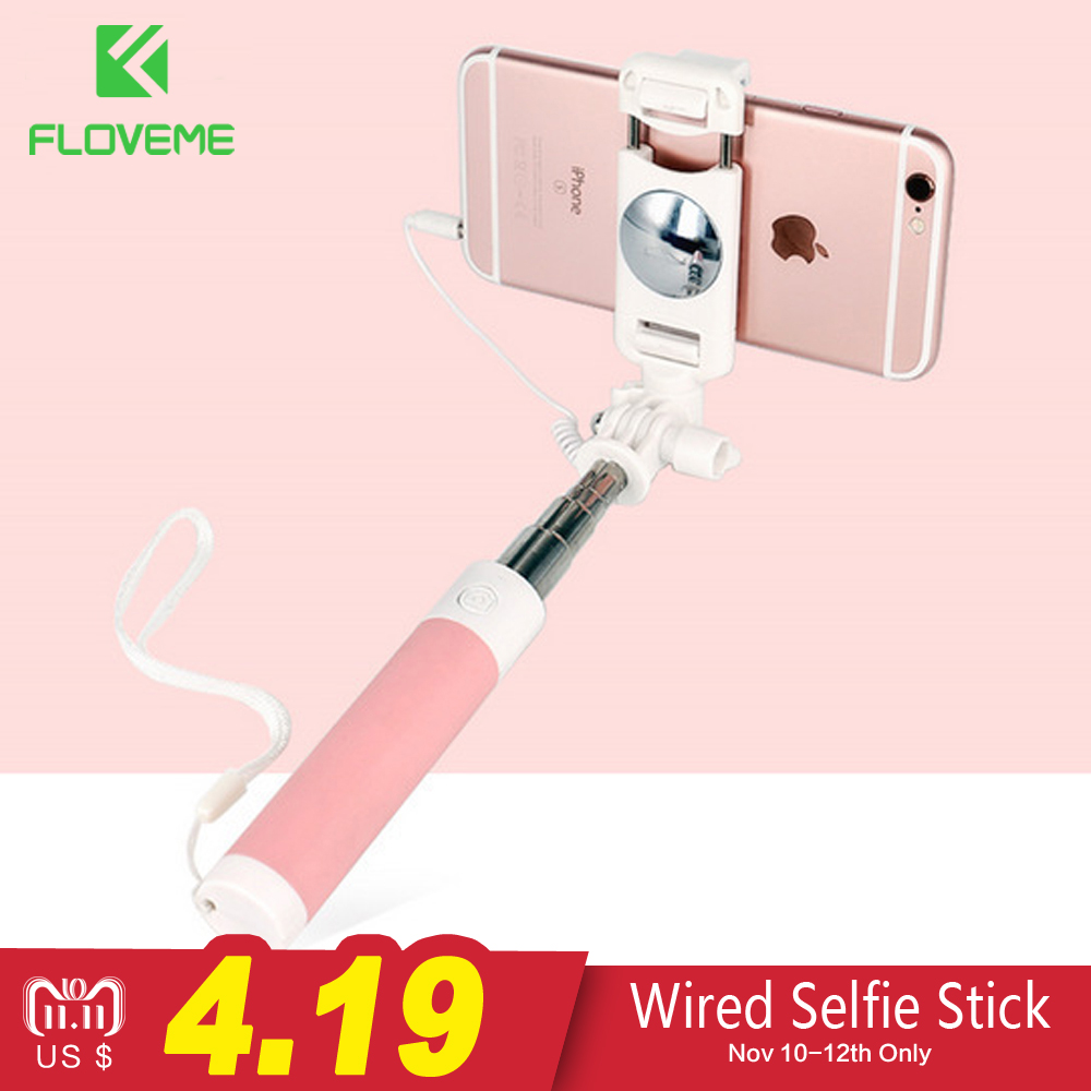 FLOVEME Wired Selfie Stick For iPhone 6 6S For Huawei Samsung Monopod Stick For Selfie Foldable Portable Selfiestick Monopod universal selfie stick for iphone 5 5s se 5c 6 6s plus monopod wired mini sport selfie stick for ios androic perche selfi stick