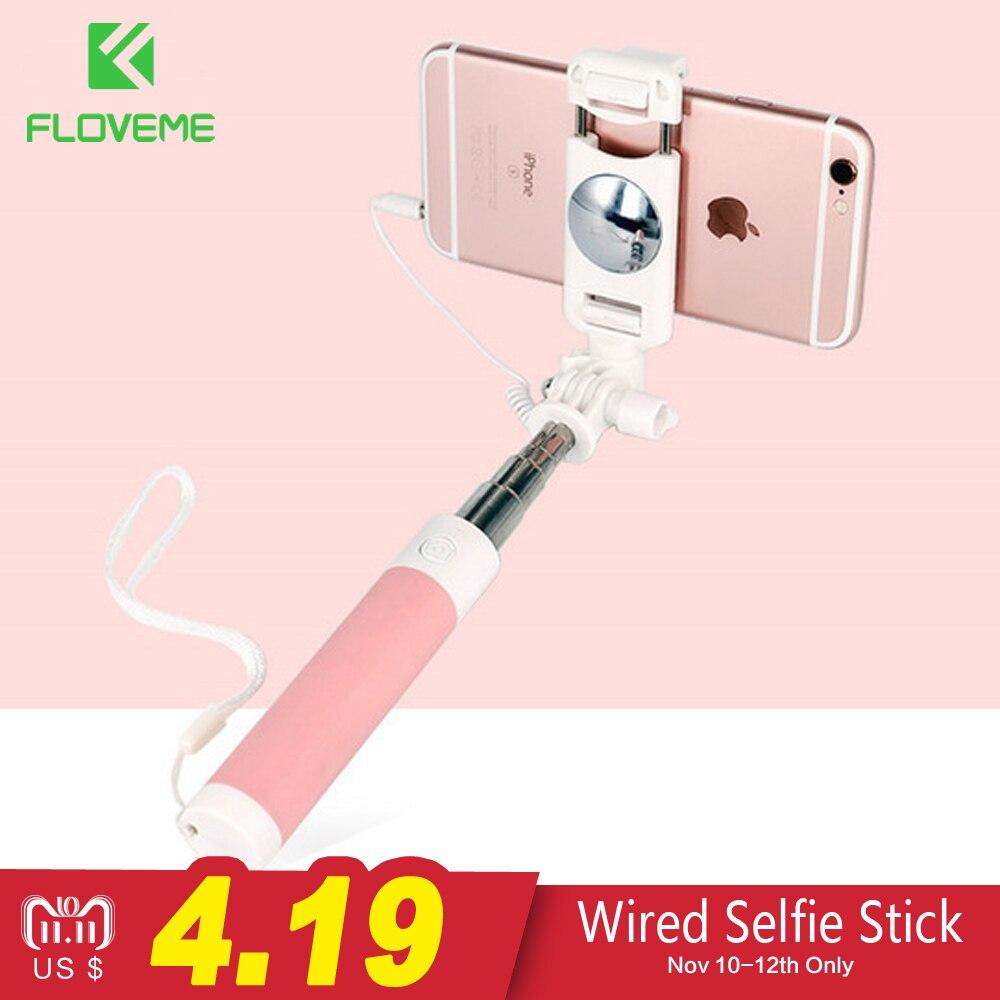 FLOVEME Проводная палка для селфи для iPhone 6 6S для huawei samsung монопод палка для селфи складной портативный Selfiestick монопод