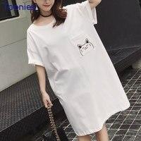 2018 Yaz Yeni Güzel T-shirt Beyaz Pamuklu Tişört Kadın Kısa kollu Uzun T Shirt Cep Karikatür Kawaii Kedi Baskılı Tee yeni