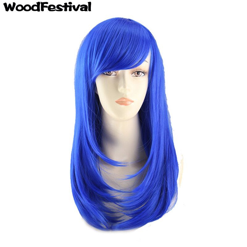 WoodFestival Women Synthetic Wig Heat Resistant White Rose Red Burgundy Blue Orange Pink Mint Green Cosplay Wigs With Bangs