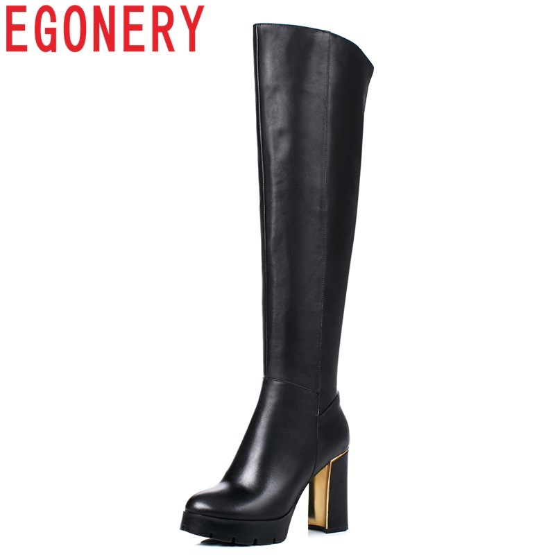 EGONERY new hot sale high quality genuine leather round toe super high hoof heels platform outside fashion over the knee boots spring women new rivets solid black super high thin heels high platform round toe gladiator over the knee boots free shipping