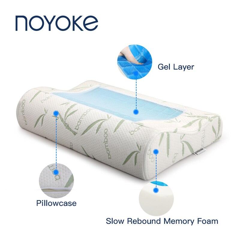 NOYOKE Pressão Gel Ortopédico Travesseiro Lenta recuperação Da Espuma Da Memória Travesseiro De Bambu Travesseiro Cervical Travesseiro para Dormir