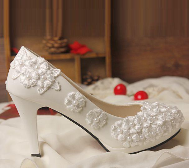 Handmade plus sizes lace wedding shoes women pearls sweet brides pumps shoes lady female lace bridesmaid