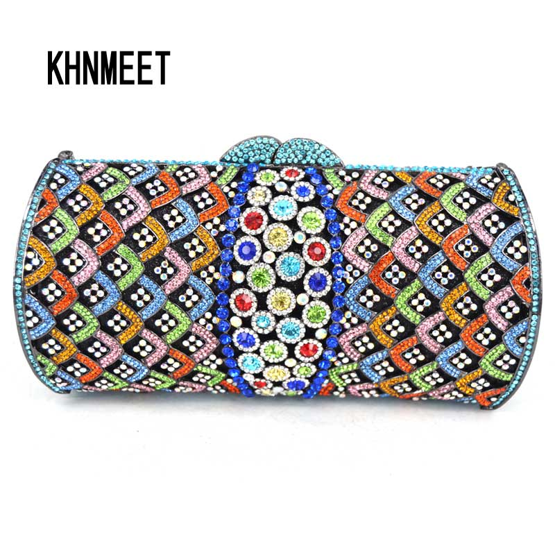Newest Multicolor Fashion Diamond Crystal banquet Clutch Bag Sparkly Diamante Bride Evening Bag Silver Wedding Handbags sc509 brand designer luxury crystal multicolor clutch bag women diamond evening bag golden oval wedding banquet purse handbags sc467