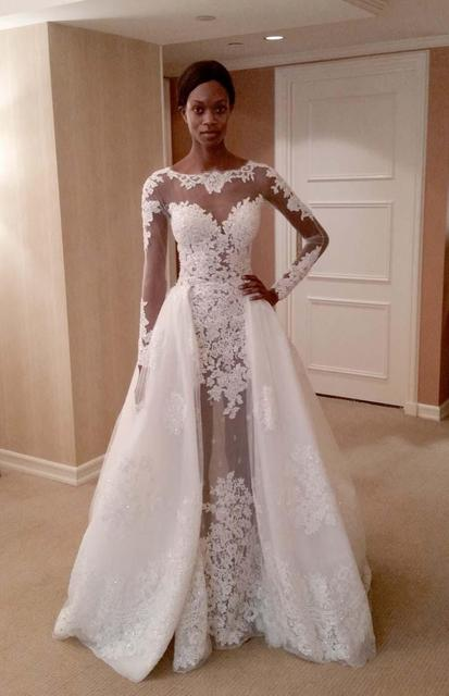 2016 Zuhair Mural Wedding Dress With Overskirt Sheer Long Sleeve Illusion Dresses Detachable Train