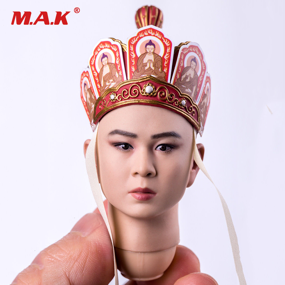 1/6 Scale Male Head Sculpt Model Toys Journey to the West Tang Monk Man Head Carving Toy for 12 inches Action Figure 1 6 scale male clothes suit the game of death bruce lee head sculpt