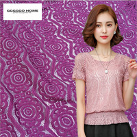 GGGGGO HOME Modacrylic Cotton Fashion Encryption Geometry Style Lace Fabric For Lady Dress Fabric