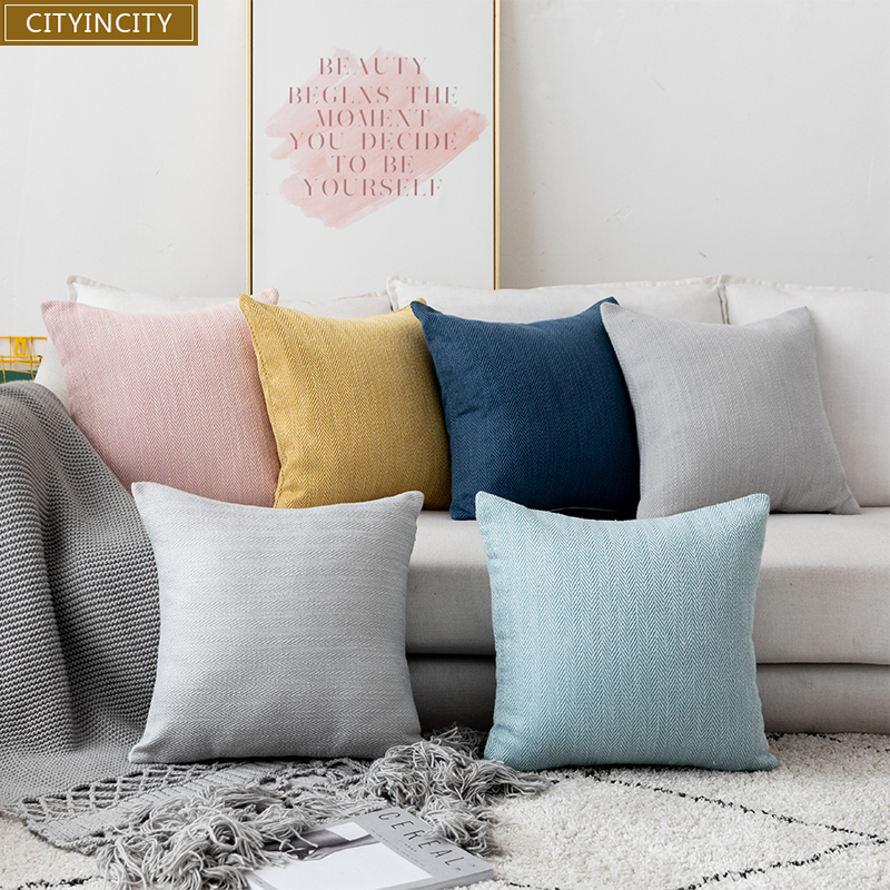 CITYINCITY Solid striped Cushion Cover polyester cotton <font><b>Pillow</b></font> <font><b>Case</b></font> <font><b>Pillow</b></font> cover Home Decor For sofa bed car seat 45x45 <font><b>50x50</b></font> image
