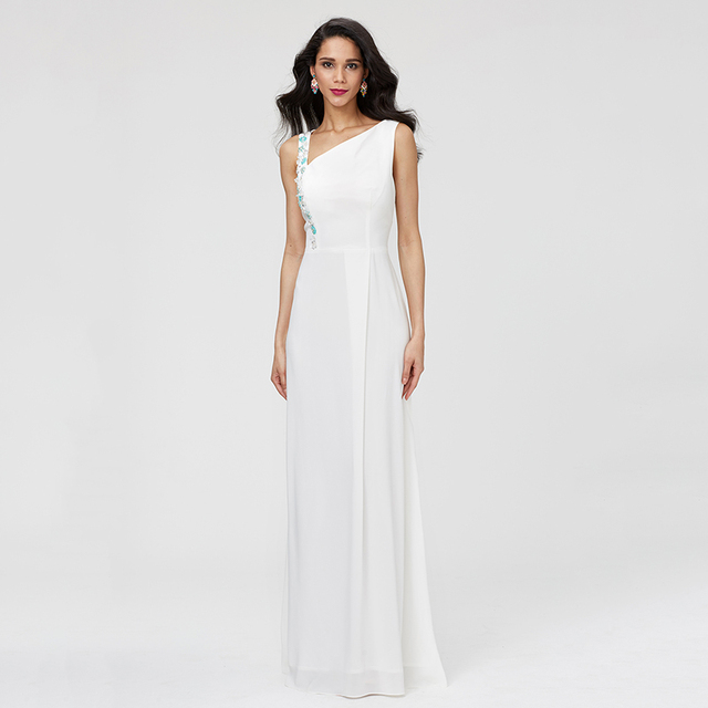 6706f62c2 TS Couture Sheath / Column One Shoulder Floor Length Stretch Chiffon Formal  Evening Dress with Beading Pleats