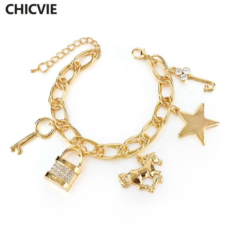 Купить chicvie золотая звезда брелок цепочка лошадь браслеты и для